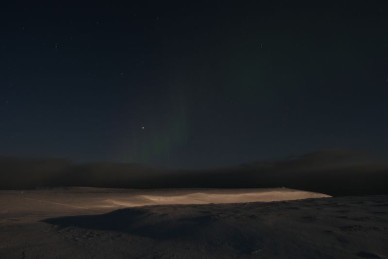 Nordlys over Lakselva. Foto: B.O. Finseth